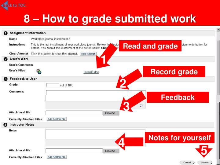 8 – How to grade submitted work