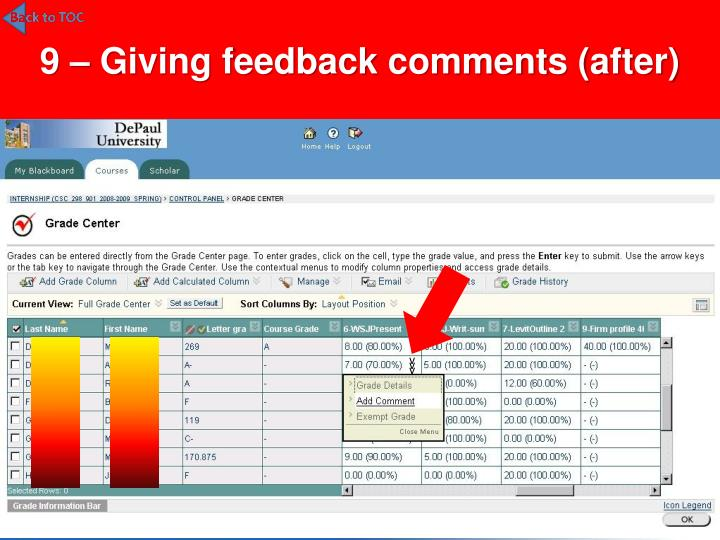 9 – Giving feedback comments (after)