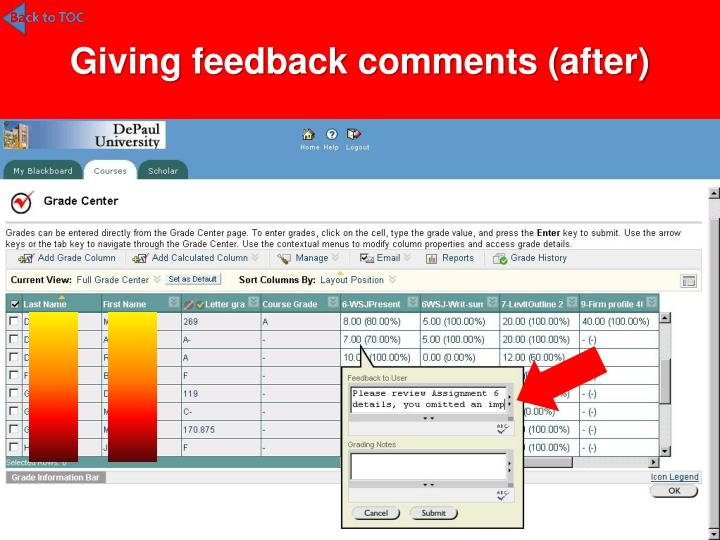 Giving feedback comments (after)