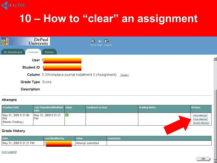 """10 – How to """"clear"""" an assignment"""