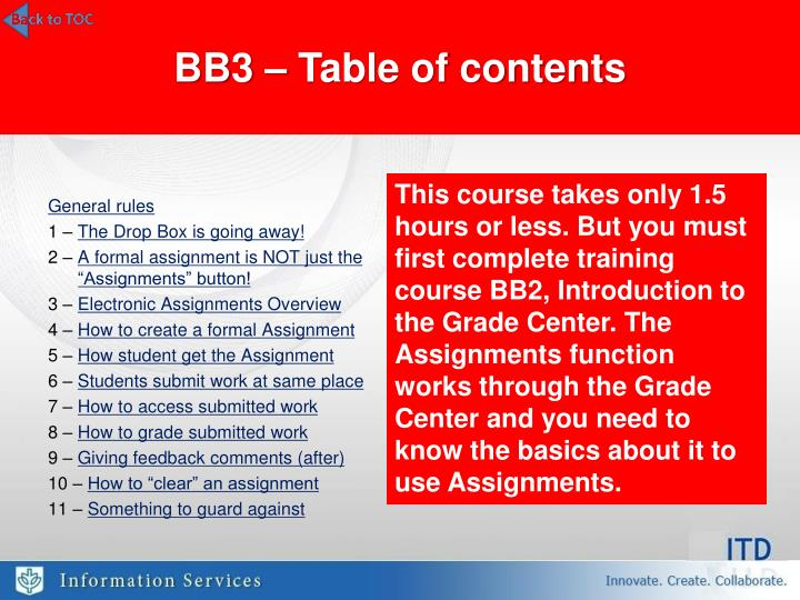 BB3 – Table of contents