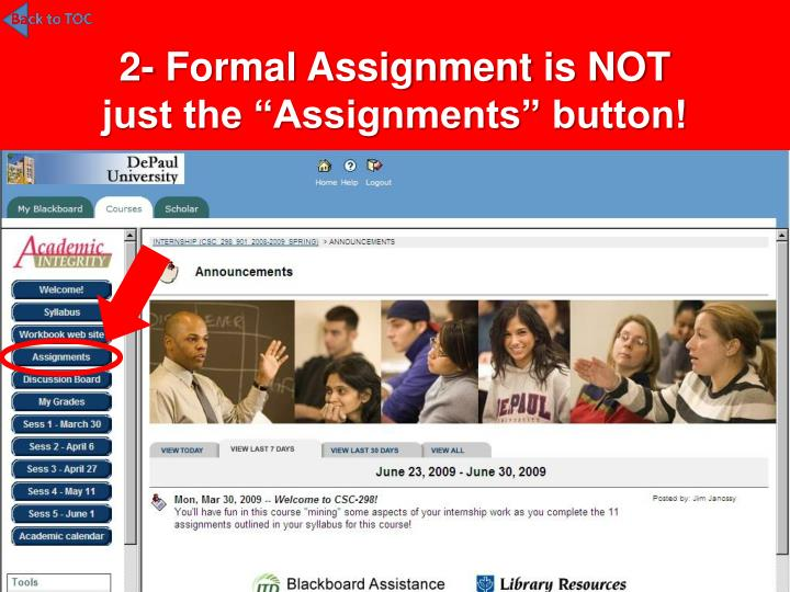 2- Formal Assignment is NOT