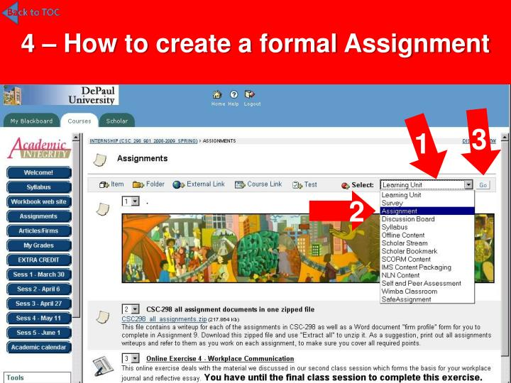 4 – How to create a formal Assignment