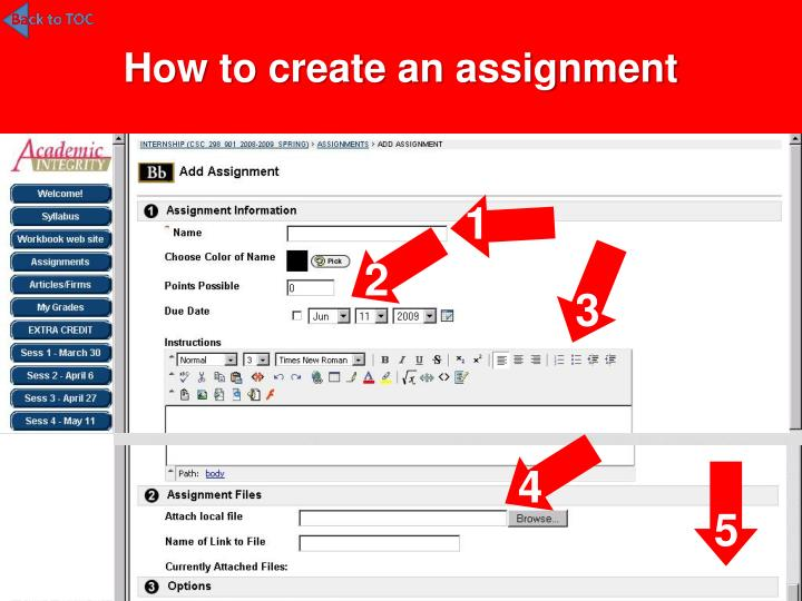 How to create an assignment