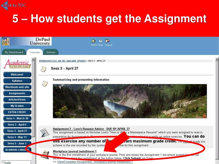 5 – How students get the Assignment
