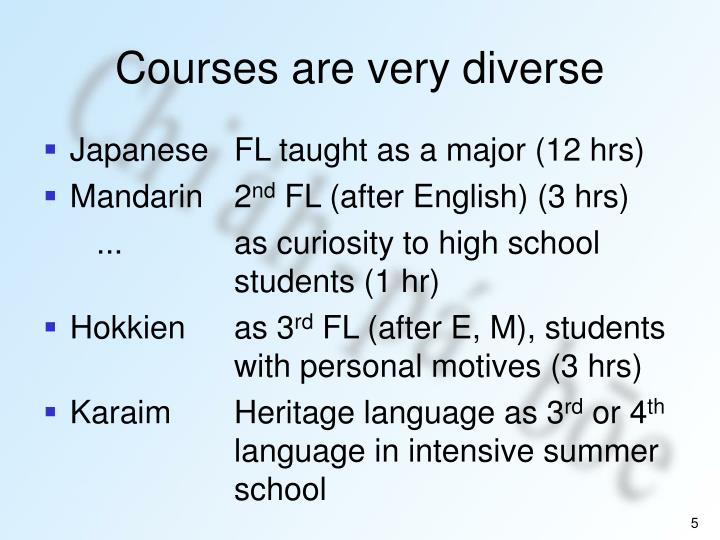 Courses are very diverse