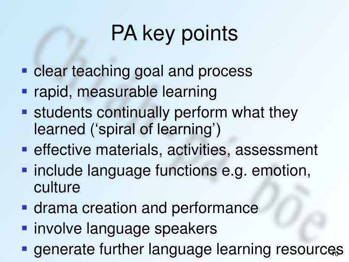 PA key points