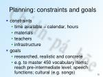planning constraints and goals