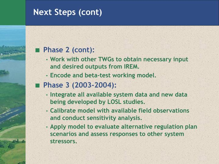 Next Steps (cont)