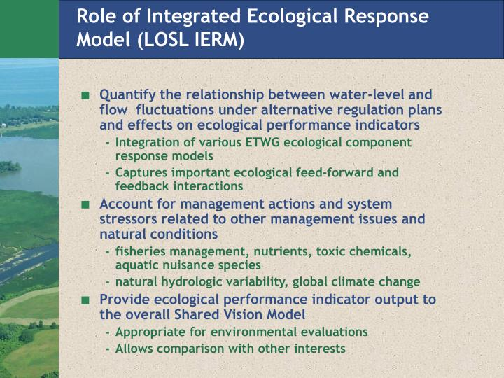 Role of Integrated Ecological Response Model (LOSL IERM)