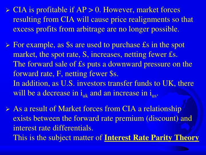 CIA is profitable if AP > 0. However, market forces resulting from CIA will cause price realignments so that excess profits from arbitrage are no longer possible.