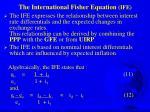 the international fisher equation ife