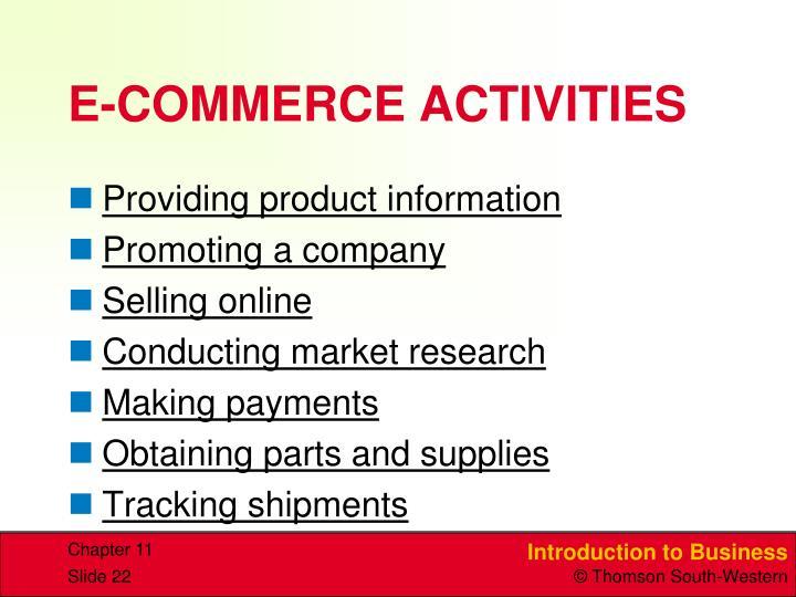E-COMMERCE ACTIVITIES
