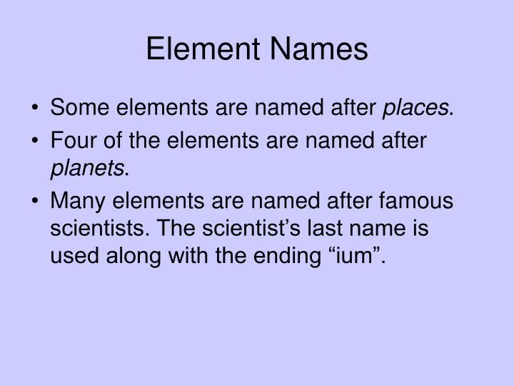 Element Names