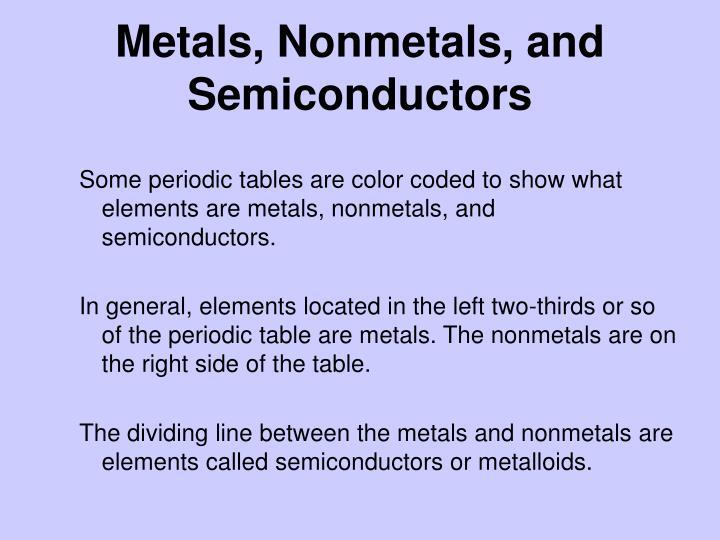 Metals, Nonmetals, and Semiconductors