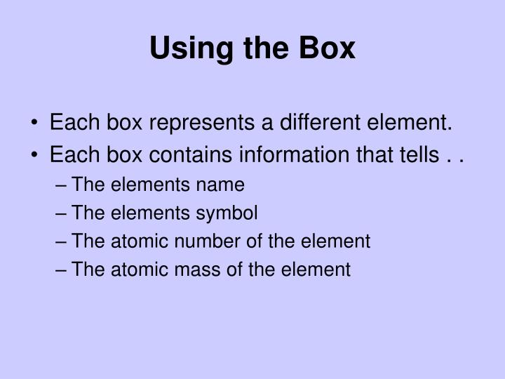 Using the Box