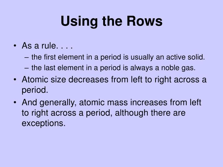 Using the Rows