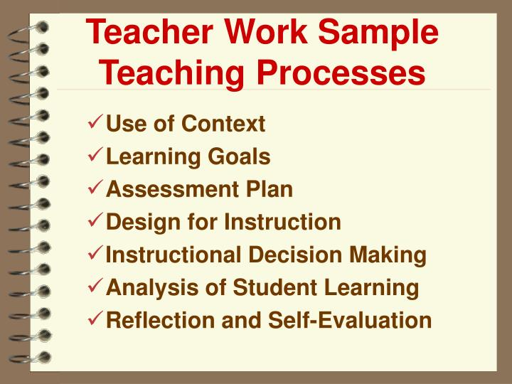 Teacher Work Sample Teaching Processes