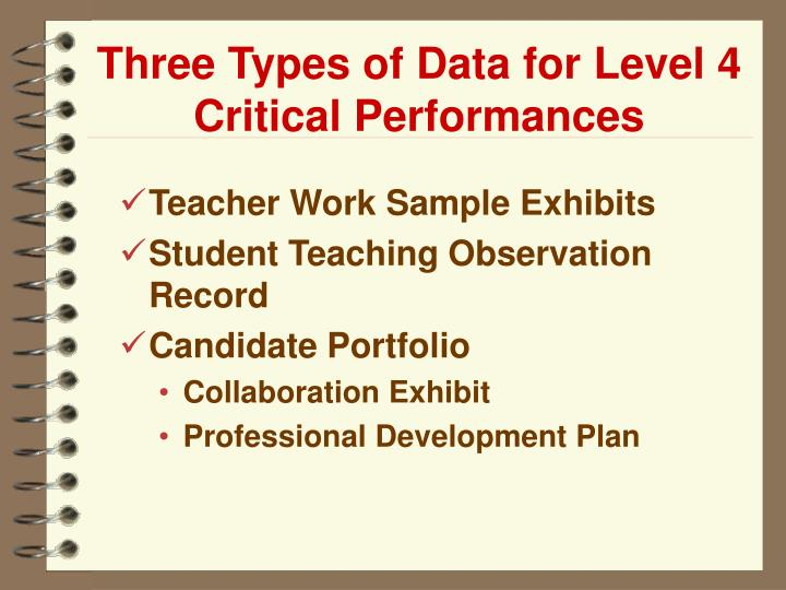 Three Types of Data for Level 4 Critical Performances