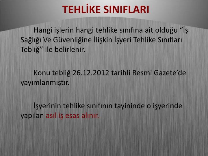 TEHLİKE SINIFLARI