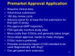 premarket approval application