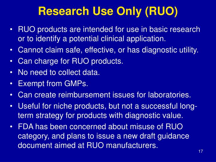 Research Use Only (RUO)