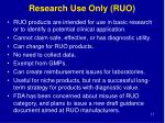 research use only ruo