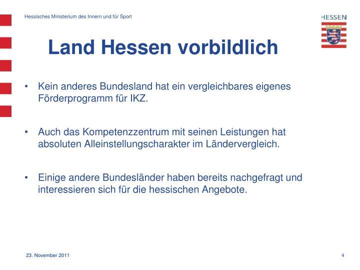 Land Hessen vorbildlich