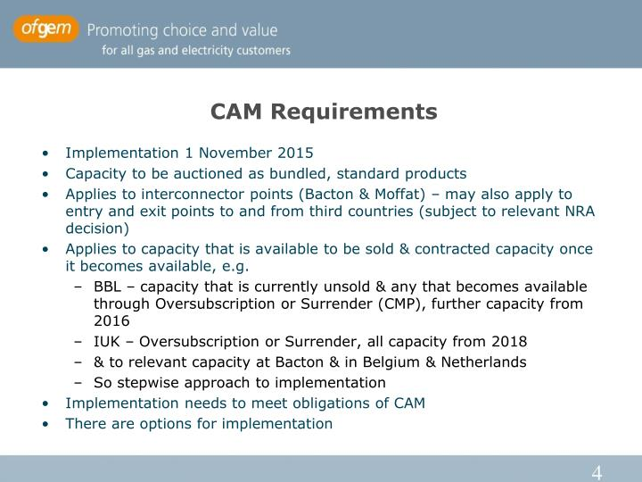 CAM Requirements