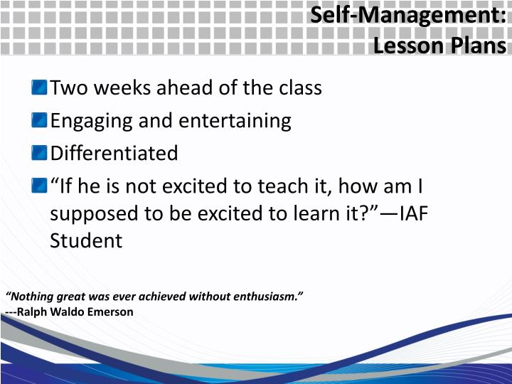 Self-Management: Lesson Plans