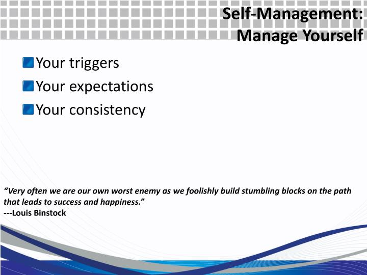 Self-Management: Manage Yourself
