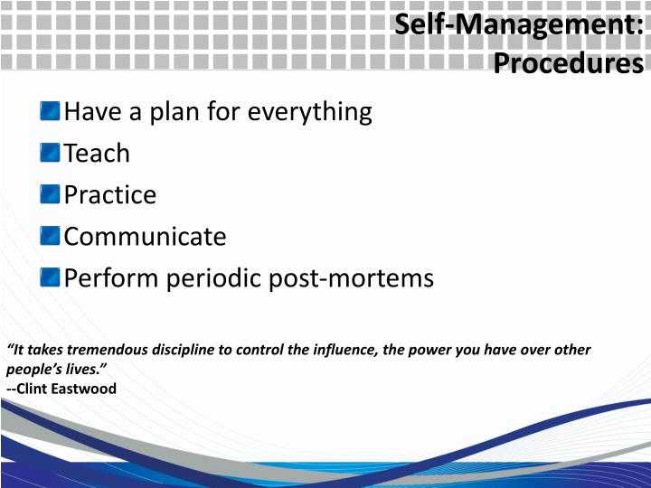 Self-Management: Procedures