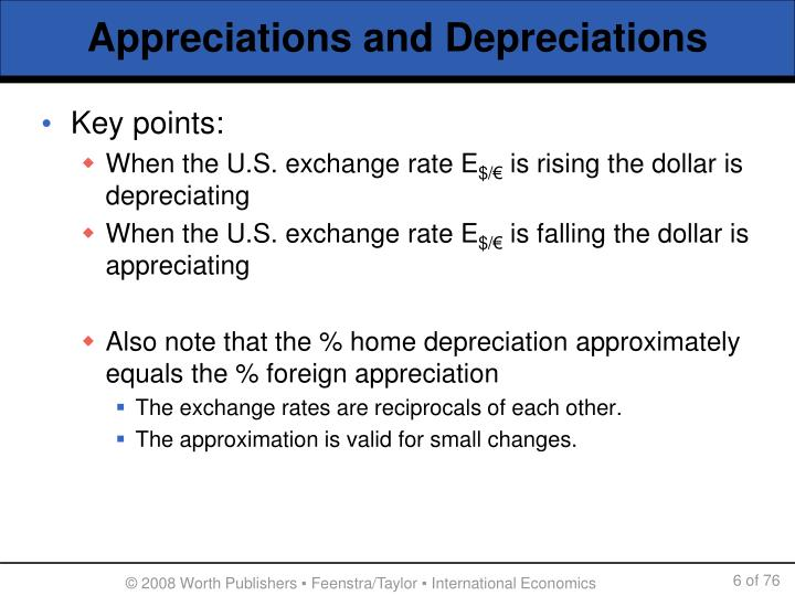 Appreciations and Depreciations