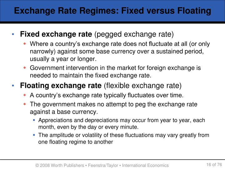 Exchange Rate Regimes: Fixed versus Floating