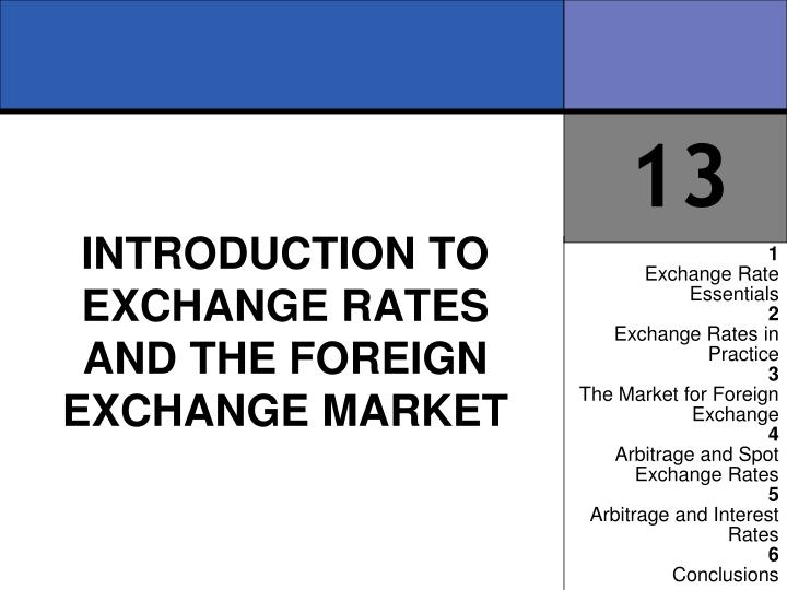 Introduction to exchange rates and the foreign exchange market