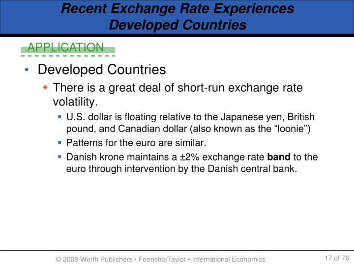 Recent Exchange Rate Experiences