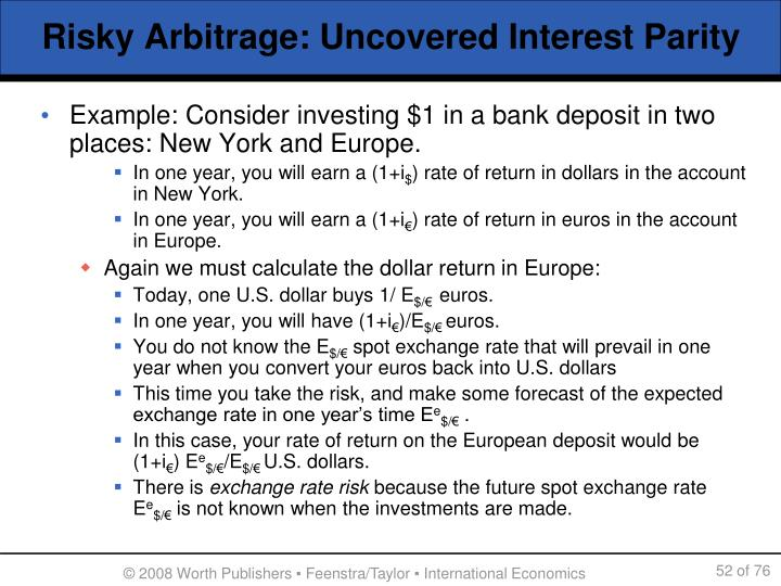 Risky Arbitrage: Uncovered Interest Parity