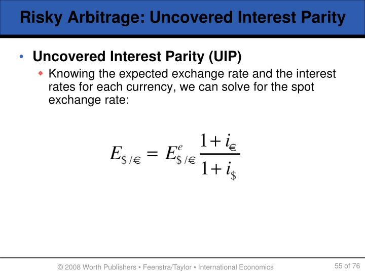 Uncovered Interest Parity (UIP)