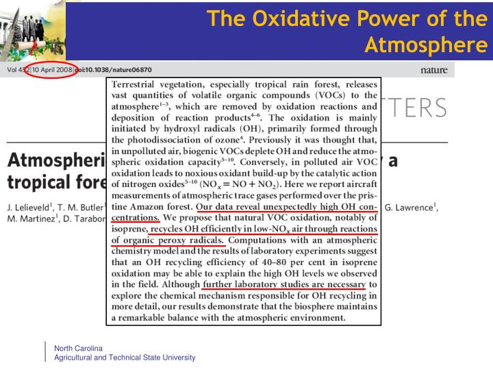 The Oxidative Power of the Atmosphere