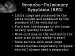 broncho pulmonary dysplasia bpd