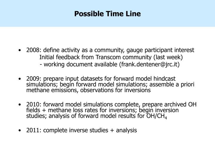 Possible Time Line
