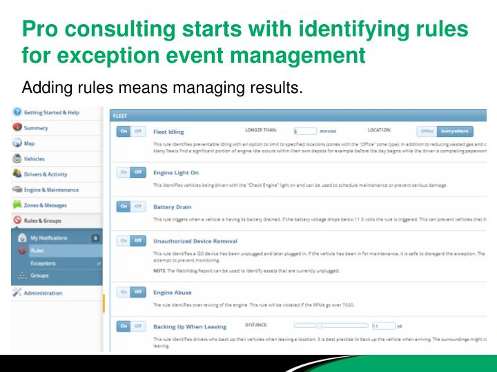 Pro consulting starts with identifying rules for exception event management