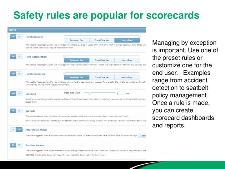 Safety rules are popular for scorecards