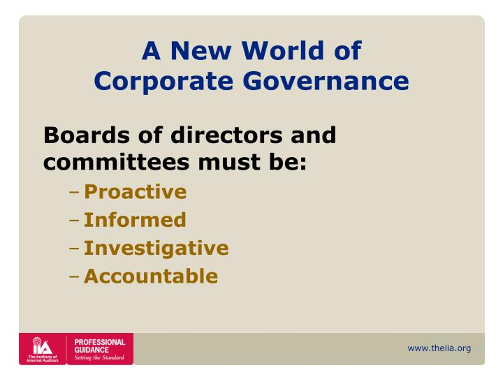 A new world of corporate governance