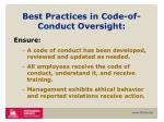 best practices in code of conduct oversight