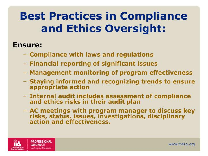 Best Practices in Compliance and Ethics Oversight: