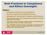 best practices in compliance and ethics oversight