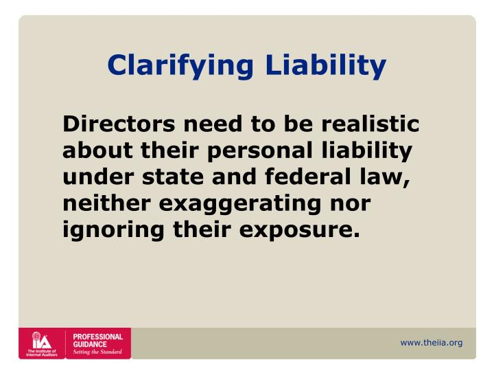 Clarifying Liability