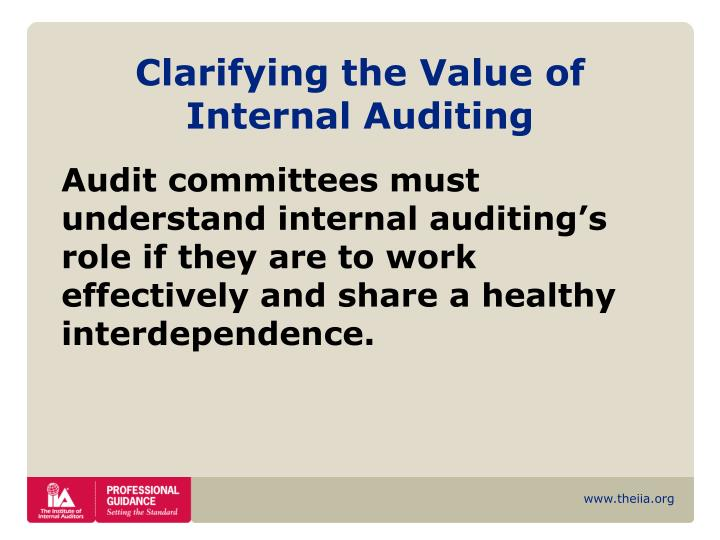 Clarifying the Value of Internal Auditing