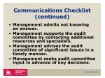 communications checklist continued